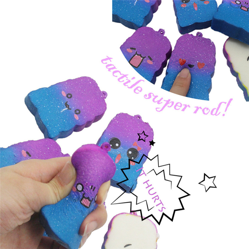 Squishy Galaxy Toast Slow Rising Cartoon Cream Scented Stress Relief Toys Phone Charm Kawaii Kid Adult Toy Stress Reliever 30D26