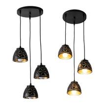 3 ראשי שחור שיכון LED תקרת אור אוכל אור 3pcs הנורה תקרת מנורת תליית תאורה לסלון אור גופי
