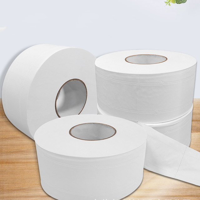 1 Roll Top Quality Jumbo Roll Toilet Paper 4-Layer Native Wood Soft Toilet Paper Pulp Home Rolling Paper Strong Water Absorption 2
