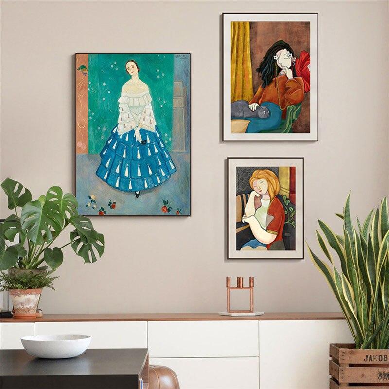 Абстрактная Картина на холсте Анри матиссе, винтажный женский настенный плакат, печать, настенные картины в скандинавском стиле, декор для ...