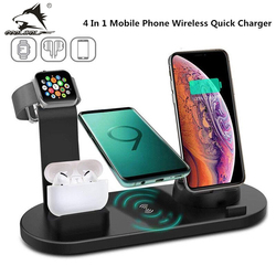 COOLWOLF 4 in 1 Wireless Charging Stand For Apple Watch 6 5 4 3 iPhone 12 11 X XS XR 8 Airpods Pro 10W Fast Charger Dock Station