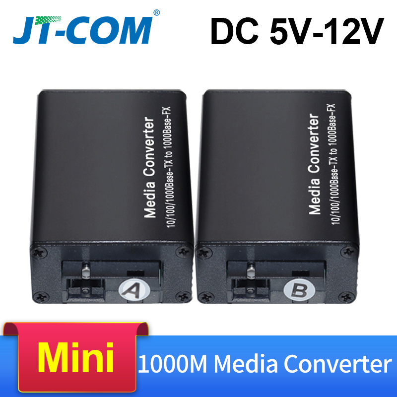 DC 5V-12V 20KM 1000M Mini Gigabit Media Converter Fiber Optic To RJ45 Single Mode Ethernet Switch Optical Transceiver SM SC FTTH