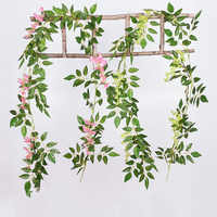 1pc 2M Artificial Wisteria Vine Garland Flower String Plants Foliage Outdoor Home Trailing Flower Fake Flower Hanging Wall Decor