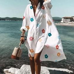 Для женщин с v-образным вырезом Цветочный принт платье повседневное 2021 сезон: весна-лето с длинным рукавом нерегулярные рубашка платье летн...