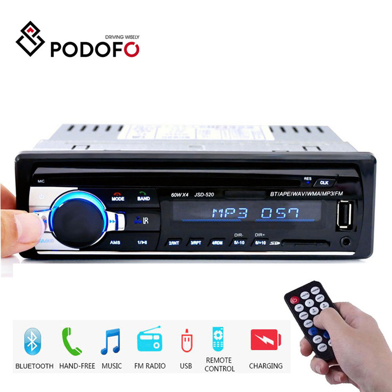 Podofo 1din in-dash rádios de carro estéreo controle remoto digital bluetooth áudio música estéreo 12 v rádio do carro mp3 player usb/sd/AUX-IN
