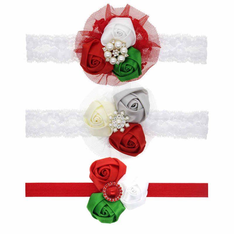 Girl's Christmas Rhinestone Headband Baby Shabby Flowers Headbands Children Kids Hair Accessories Baby Christmas Gift HB463