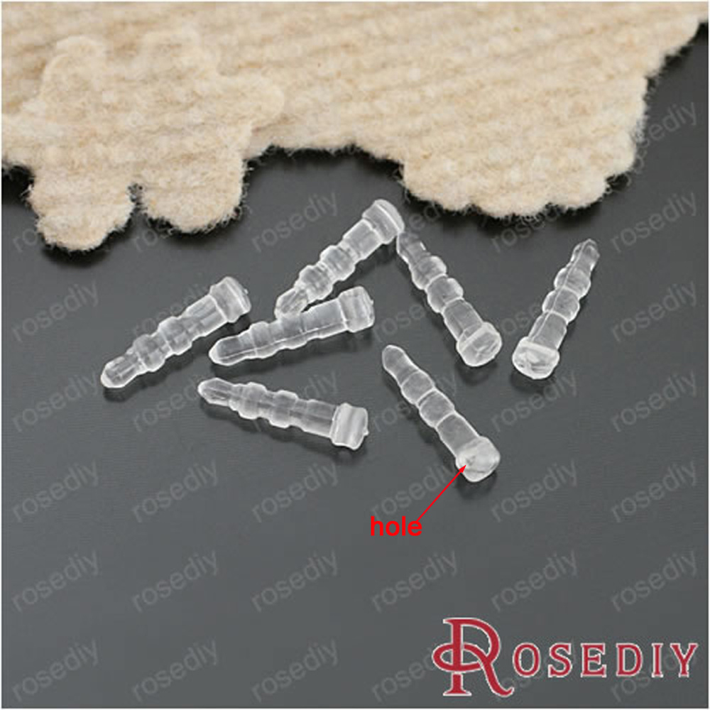 Wholesale 18*4mm Transparent White Plastic Earphone Jack Dust Plug Diy Mobile Phone Accessories 100 Pieces(JM5186)