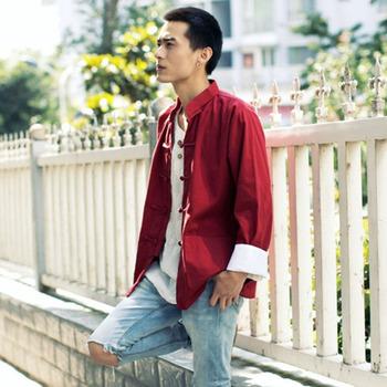 Tangsuit Vintage odzież męska chińska stylowa koszula Top Cheongsam tradycyjna chińska odzież dla mężczyzn Wutang Hanfu etniczna tanie i dobre opinie COTTON Poliester CN (pochodzenie) Tkane Chinese Shirt M L XL XXL Unisex Black Red Green Blue Beige Brown Casual Party Traditional Chinese Clothes For Men