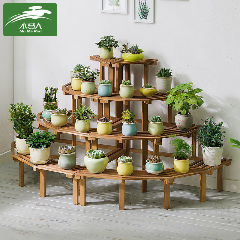 Solid Wood Corner Indoor Plant Stand  Wall Succulent Planter Shelves  Garden Flower Stand Floor Racks Dropshipping