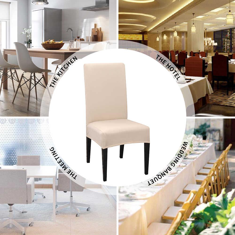 1/2/4/6 adet sandalye kılıfı Spandex streç elastik Slipcovers sandalye kılıfı s mutfak yemek odası için düğün ziyafet otel katı renk