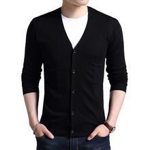 Мужской свитер, Повседневный пуловер с v-образным вырезом, мужской осенний тонкий свитер с длинным рукавом, вязаный мужской свитер