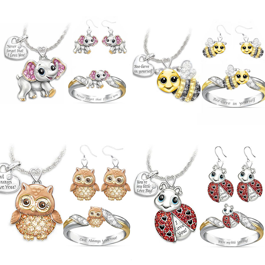 Fashion Cute Animal Jewelry Sets for Women Kids Girls Cartoon Owl Cat Unicorn Jewelry Set Necklace/Ring/Earrings Jewelry Gifts