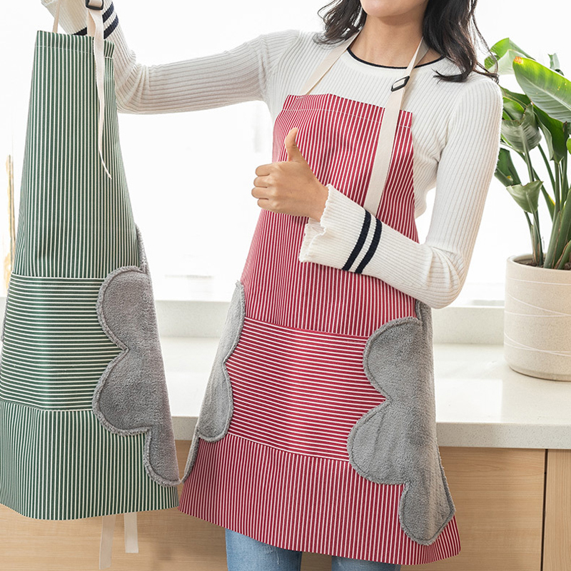 Home Women Men Cooking Kitchen Apron Side Wipes Waterproof Anti Oil Adjustable Buckle Oxford Cloth Big Pocket Apron Kitchen Tool 2