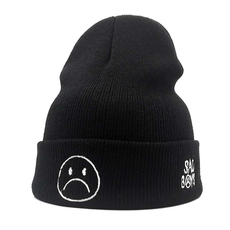 2019 autumn and winter new sad boy Crying face embroidery casual fashion knit hat man woman warm   beanie   hat Hip-hop   Skullies   cap