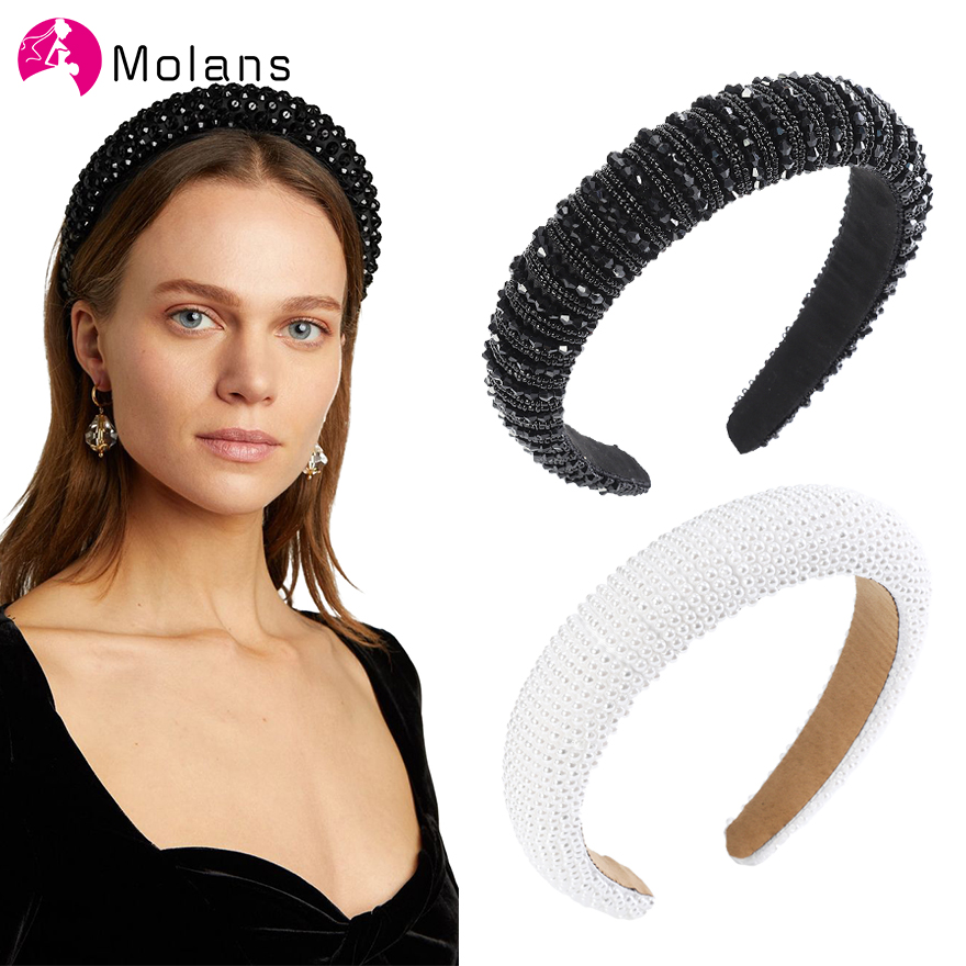 MOLANS Glitter Padded Beads Headbands Luxurious Full Pearls Beading Hairbands Women Wide Hair Hoops Sparkly Bejewled Headbands
