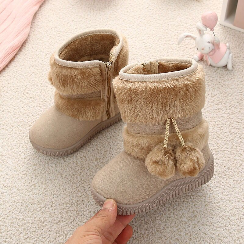 New Russia Fur Children Winter Boots For Toddler Girl Snow Boots Warm Plush Baby Boys Boot Mid-calf Suede Fashion Non-slip Shoes