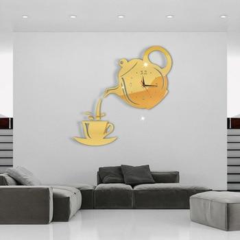 3D Acrylic Mirror Wall Clock Creative DIY Coffee Cup Teapot Wall Clock Home Living Room Decorative Self-adhesive Wall Clocks 7