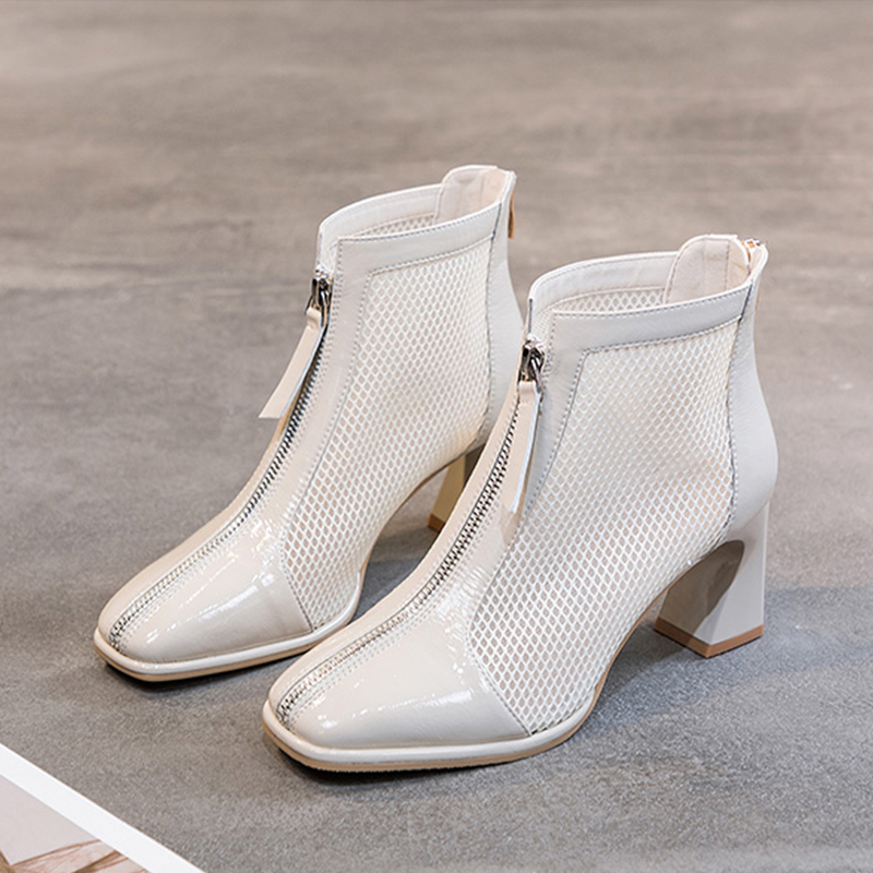 Zipper Mesh Hollow Out Breathable Single Shoes Women High Heels Cool Boots 2021 New Spring Summer Boots Women Ankle Boots