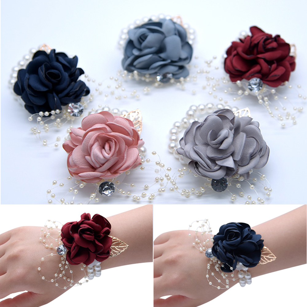 Wedding Bridal Girls Bridesmaid Wrist Flowers Wedding Prom Party Corsage Bracelet Fabric Hand Flowers Wedding Supply Accessories