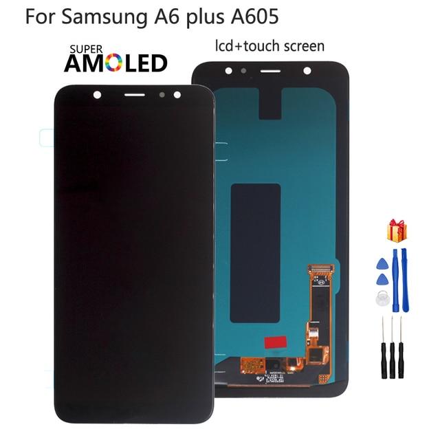 สำหรับ Samsung Galaxy A6 PLUS A6 + A605 SM A605F จอแสดงผล LCD สำหรับ Samsung A605FN A605G A605GN หน้าจอ LCD AMOLED