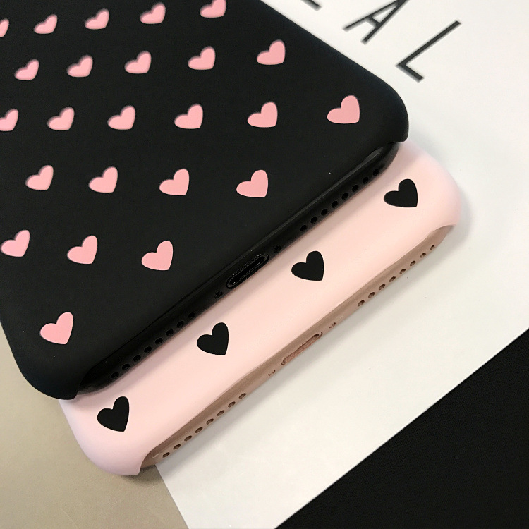 Love Heart Case For iPhone 11 Pro X Xr Xs Max 5 6 6s 7 8 Plus Women's Phone Case Plastic Acrylic Hard Back Cover Capa