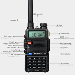 Image 3 - Retevis RT5R لاسلكي تخاطب 4 قطعة شاحن يو اس بي محطة راديو 5 واط 128CH VHF UHF ثنائي النطاق راديو FM اتجاهين راديو محمول Comunicador