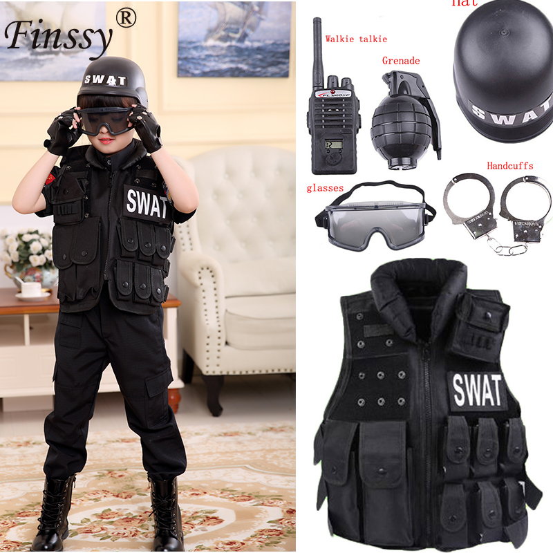 Boys Girls Special Police Clothing Policemen Uniform Children's Birthday Xmas Gift Cosplay Costume Kids SWAT Army Performance