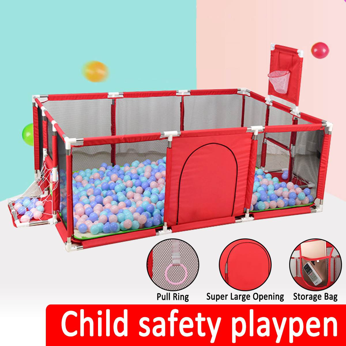 Baby Playpen Portable Plastic Fencing For Children Folding Safety Fence Barriers For Ball Pool For Child Travel Basketball Hoop