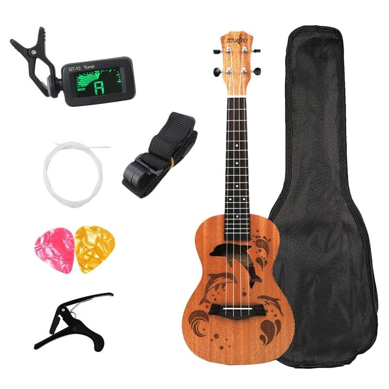 Concert Ukulele Kits 23 Inch 4 Strings Acoustic Guitar With Bag Tuner Capo Strap Stings Picks For Beginner