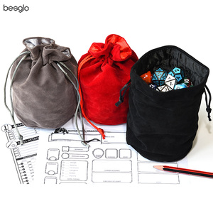 Drawstring Velvet Dice Bag Double-Layer for Packing Gift Dice Jewelry Coin Storage Trinkets Red Black Gray(China)