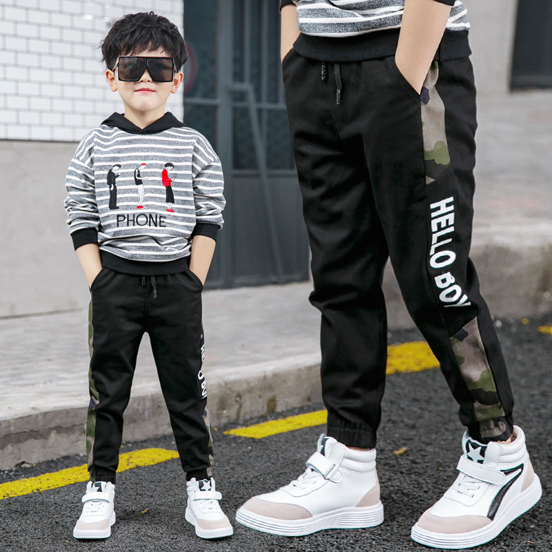 New Pants for Boys Spliced Beam Foot Trousers Cotton Casual Sports Pants Clothes for Teen Kids Boys pants Spring clothes 4
