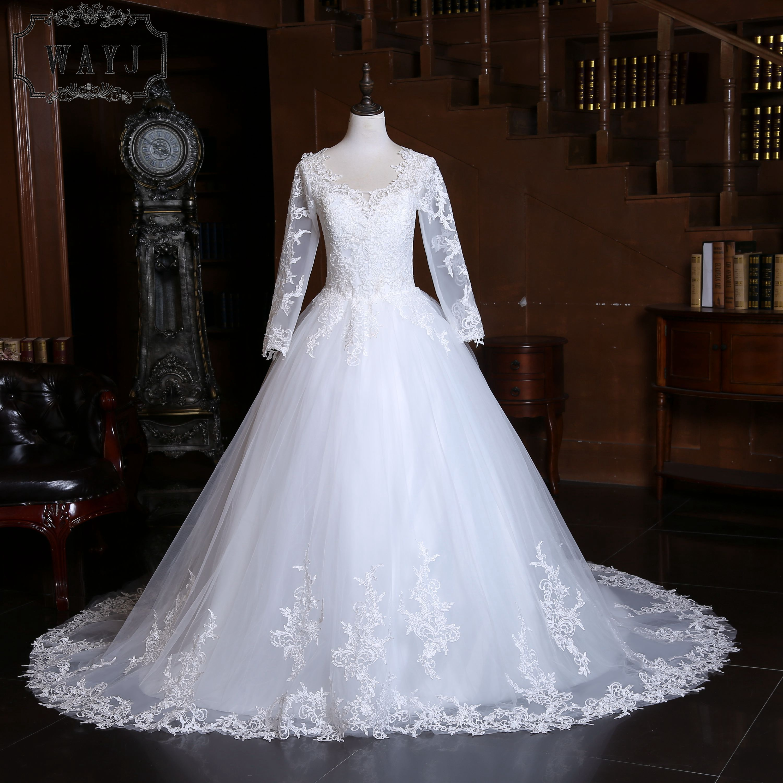 New Arrive Full Lace Wedding Dress 2020 Delicate Embroidery Princess Wedding Gowns Nice Long Train Custom Vestido De Noiva 2020