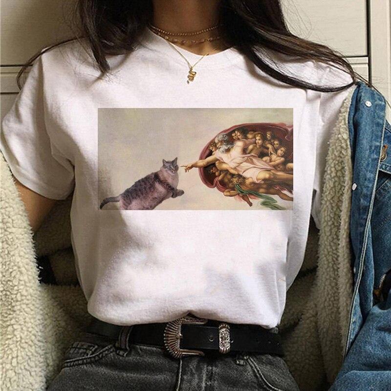 Женская футболка с коротким рукавом и круглым вырезом, летняя повседневная футболка с принтом в стиле Харадзюку размера плюс