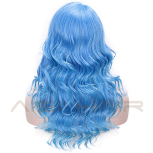 Image 3 - AISI HAIR Long Blue Wig Curly Hair Pink Purple Synthetic Mixed Color Wigs Side Part Wig for Party Cosplay Halloween