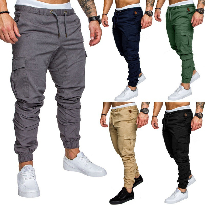 2019 New Style MEN'S Casual Pants Multi-pockets Bib Overall Youth Solid Color Sports Beam Leg Trousers