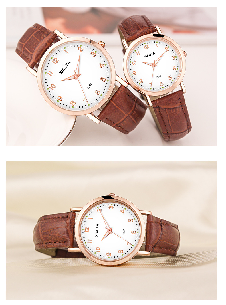XIAOYA Fashion Elegant Women Luxurious COUPLE  Casual Quartz Leather Band Starry Sky Watch Analog Wrist Watch