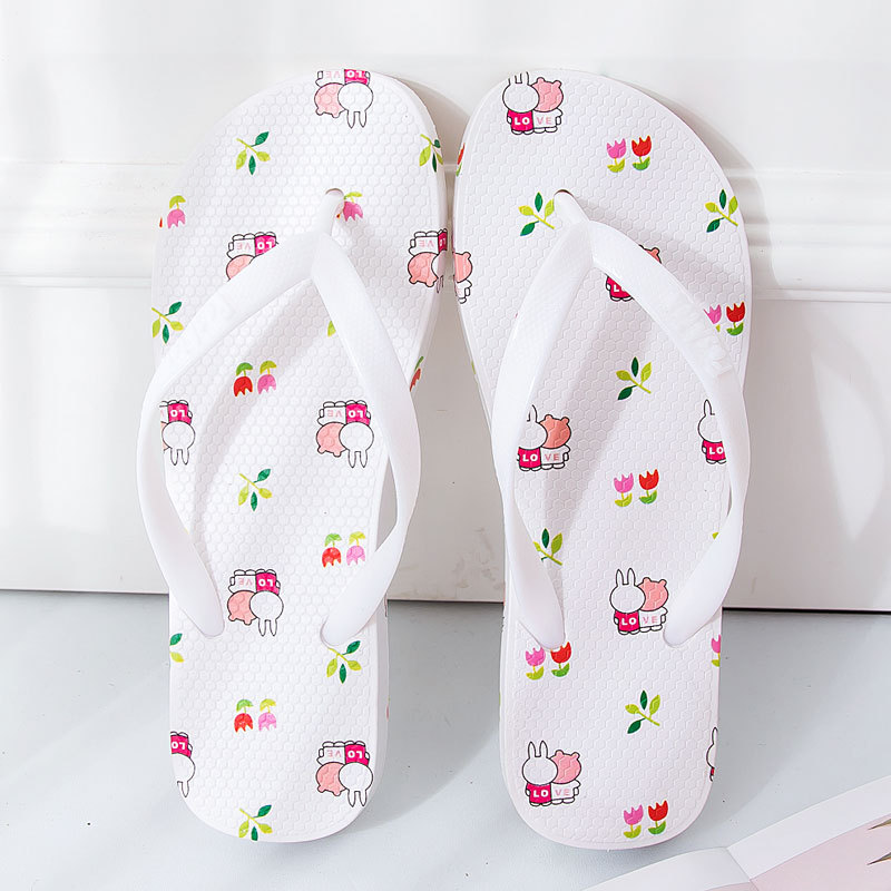 AIBA 2020 new fashion women flip flops cartoon print slippers Beach sandals summer shoes pool shower shoes image
