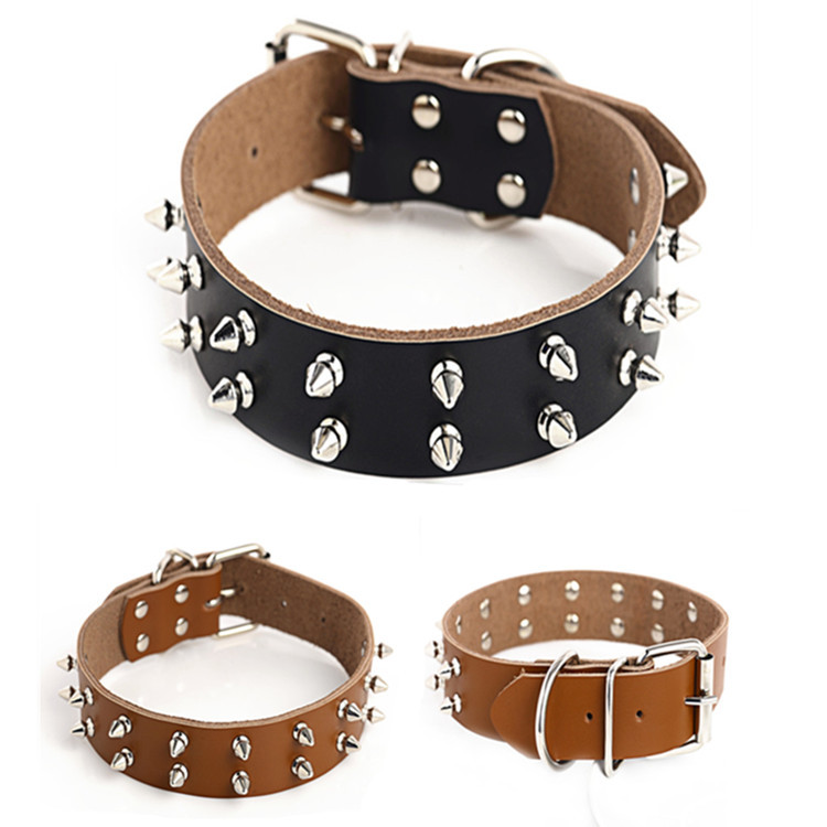 Manufacturers Direct Selling Pet Supplies Hot Sales Recommend Pure Leather Pet Collar Rivet Dog Collar Dog Supplies Wholesale