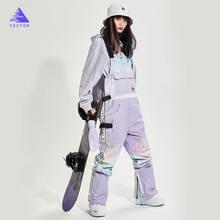 Экстра Толстые мужские и женские лыжные брюки прямые полный