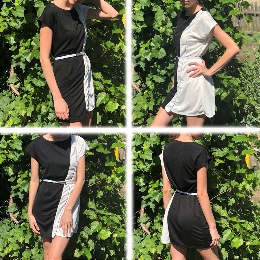 Vintage Chiffon Contrast Stitching Mini Dresses Women Sexy Short Sleeved O Neck Summer Dress Mid Rise Plus Size Party Dress Lady in Dresses from Women 39 s Clothing