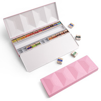 Paul Rubens 24 Colors Watercolor Paint Artist Grade Solid Pink Metal Case For Painting drawing Professional Artist Hobbyist