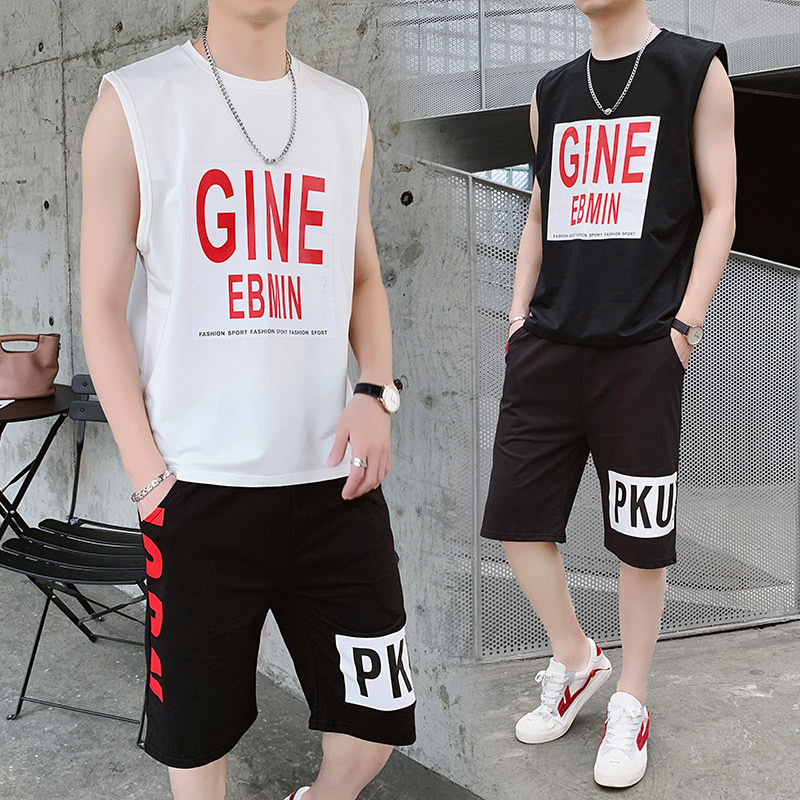 Summer Leisure Sports Suit MEN'S T-shirt Shorts Two-Piece Set Teenager Handsome Trend Sleeveless T-shirt
