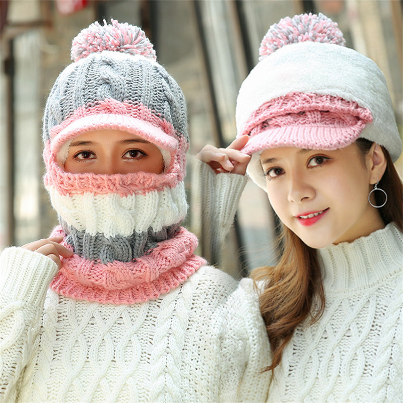 New Skullies Beanies Women Knitted Hat Scarf Female Winter Hats Pom Poms Bonnet Warm Balaclava Mask Multi-Color Beanie Cap