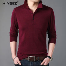 HIYSIZ New Men Sweaters 2019 Brand Autumn Winter Casual Turn-down Collar Long Sleeves Button Streetwear Solid Pullover SW029