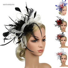 Free Shipping Red Black Net Wedding Bridal Fascinator Vintage Flower Feather Hats with Hairpin Solid Color Big