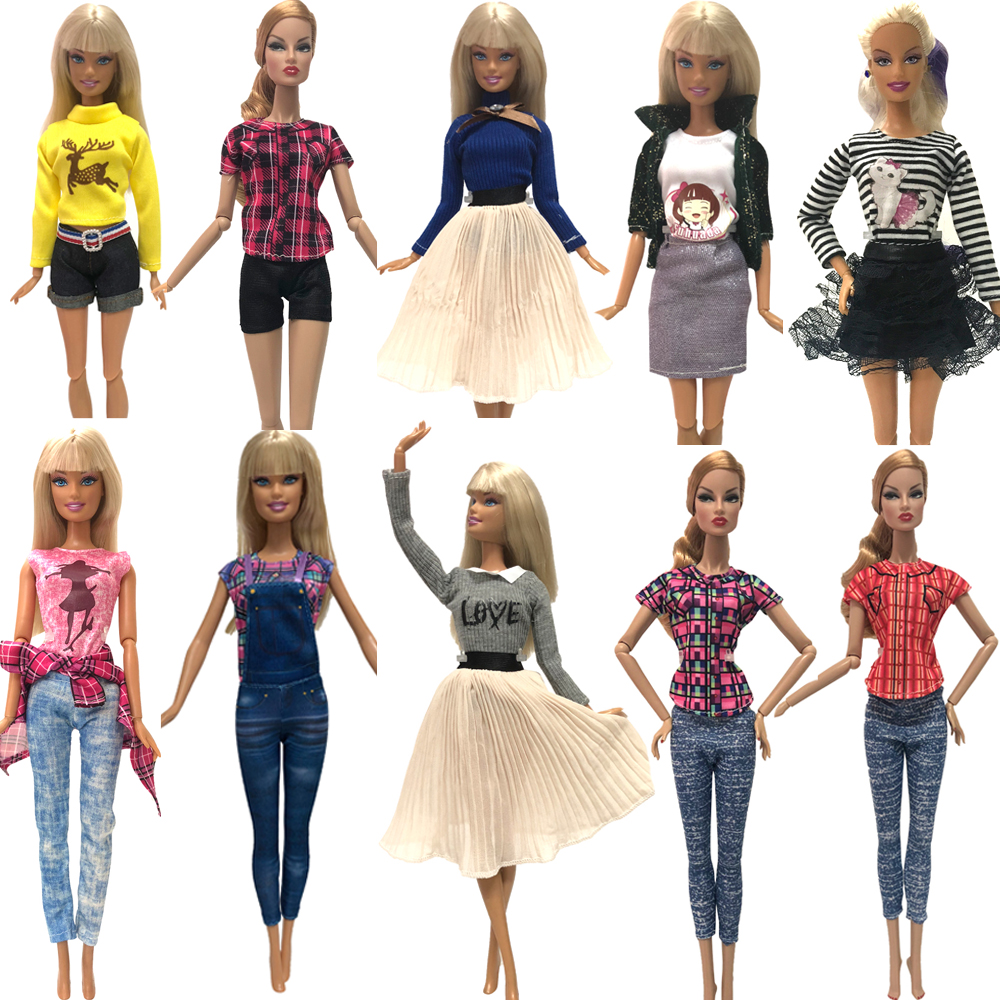 NK 10 Set/Lot Hot Sale Doll Dress Fashion Outfit Party  Casual Gown For Barbie Doll Accessories Best Gift Baby Toys 19A 3X