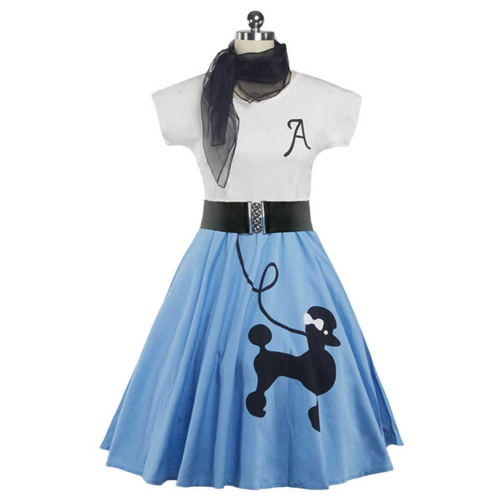 Joineles 5 สีสุนัขพิมพ์ผ้าพันคอผู้หญิง VINTAGE O-Neck แขนสั้น Swing Vestidos 50 S Robe หญิงสบายๆชุด
