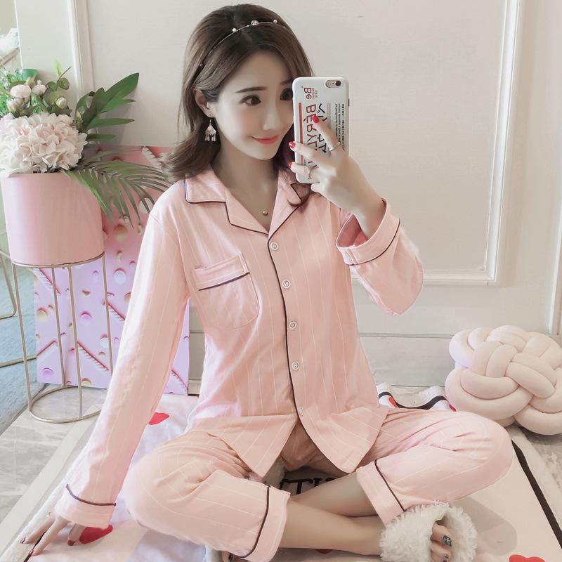 336 # Pajamas WOMEN'S Long Sleeve Pure Cotton Spring And Autumn Cardigan Korean-style Loose Autumn Thin-Outer Wear Homewear Set