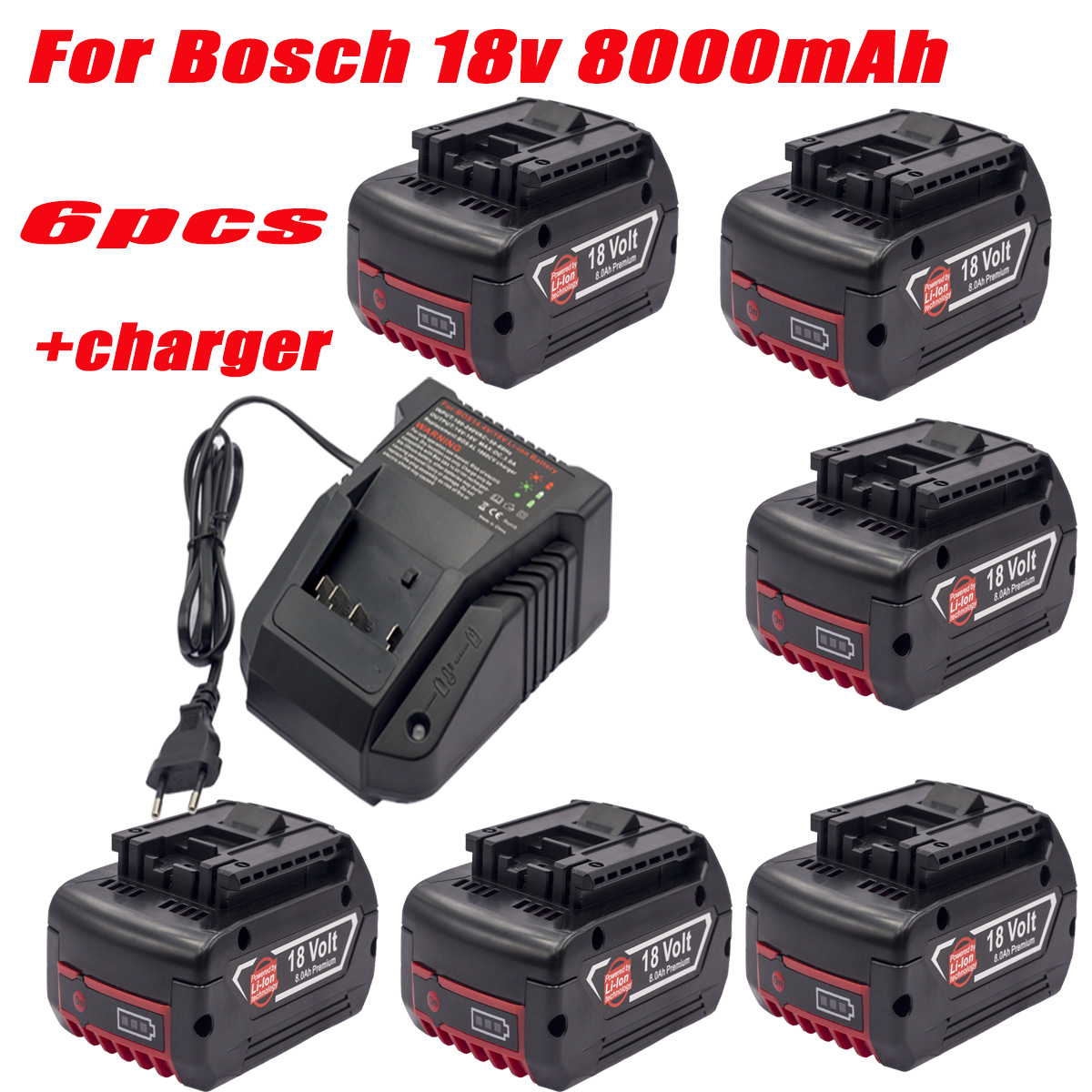 For Bosch Profession 18V Rechargeable 18650 Lithium Battery Pack 8.0A Compatible Power Tool Battery BAT609 BAT610 BAT618 BAT619