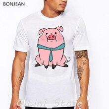 Pink pig cartoon print t-shirt men clothes 2019 funny t shirts camisetas hombre tumblr tops tee shirt homme hip hop tshirt цена и фото